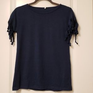Fringed Sleeve Top Navy